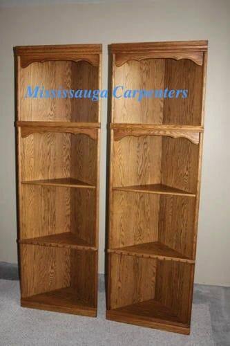 wood corner bookshelves