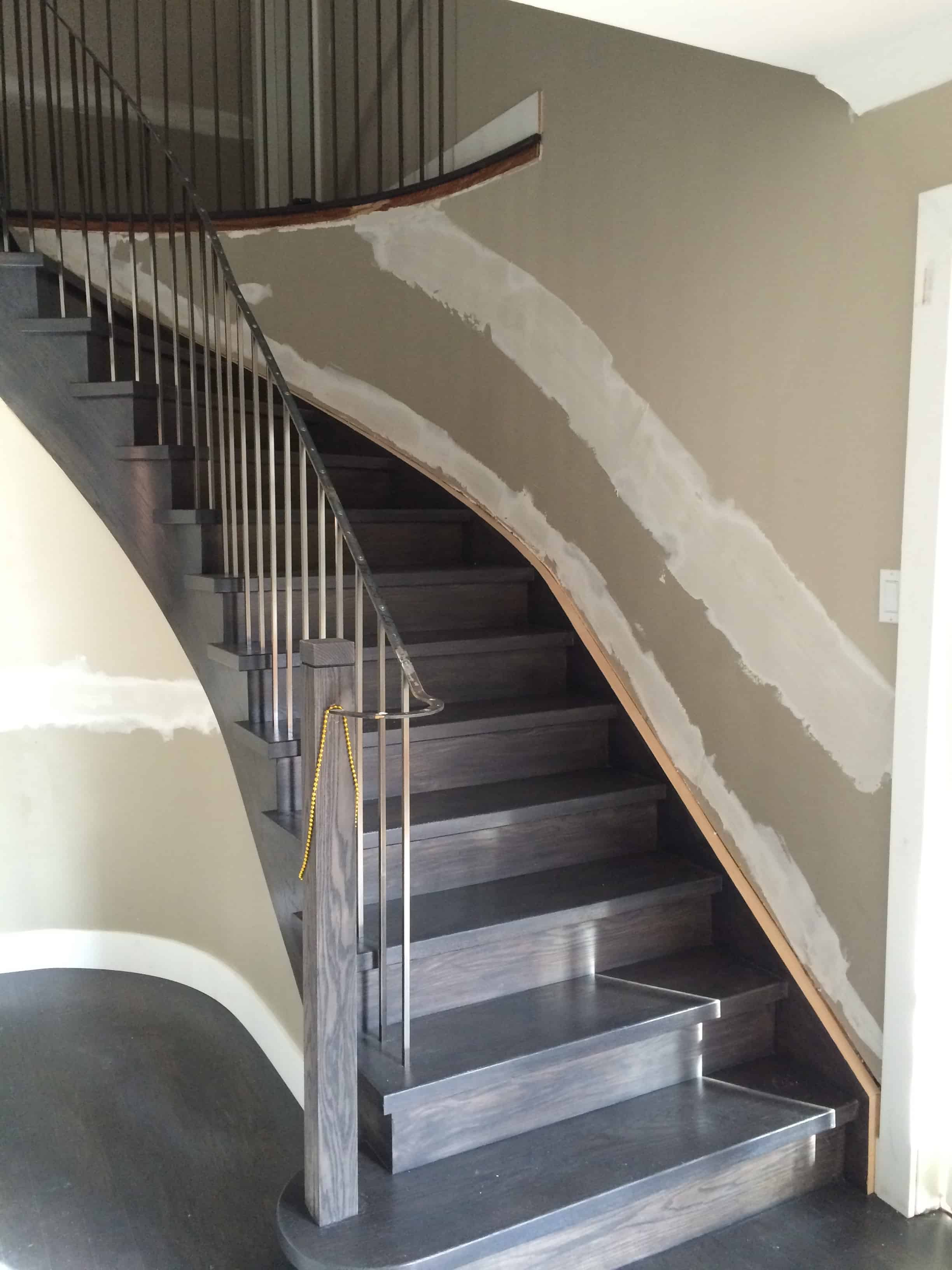 Staircase staining with satin urethane